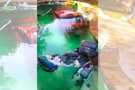 Mitsubishi afundada em piscina