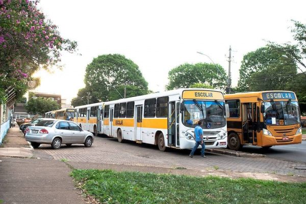 ônibus escolar estacionados