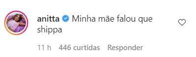 Comentário de Anitta em foto com Rodrigo Guth