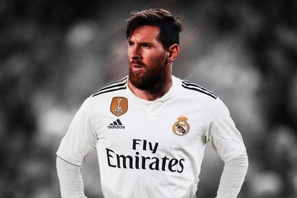 Messi com a camisa do Real Madrid