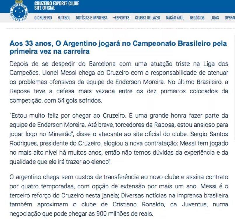Cruzeiro Messi