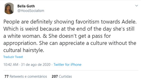 Tweet criticando Adele