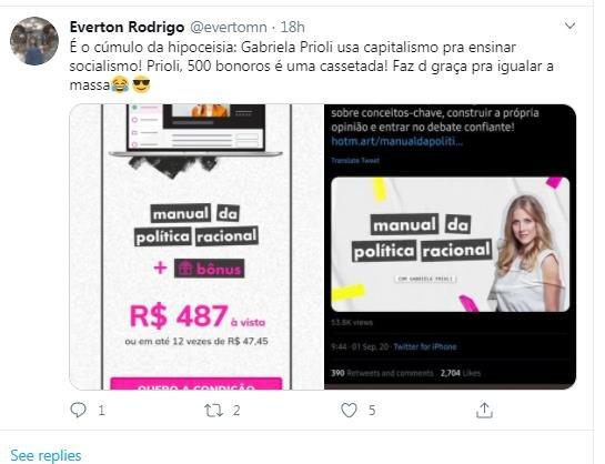 Gabriela Prioli é atacada nas redes sociais