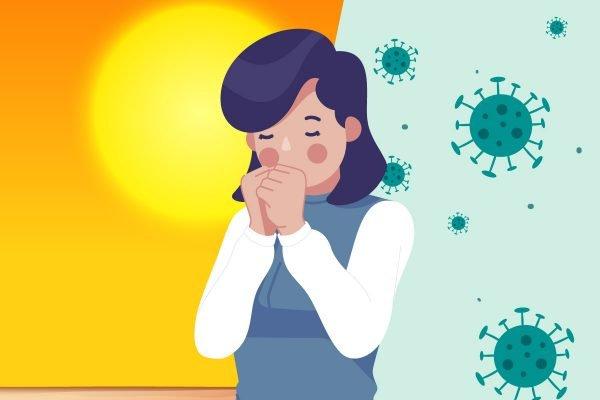 ilustração de mulher com sintomas