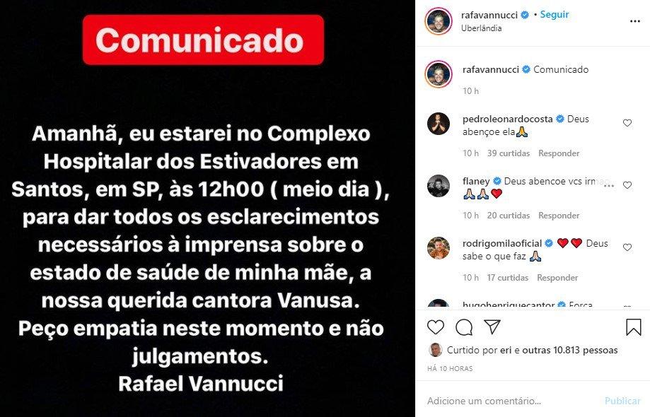 Post de Rafael Vanucci no Instagram