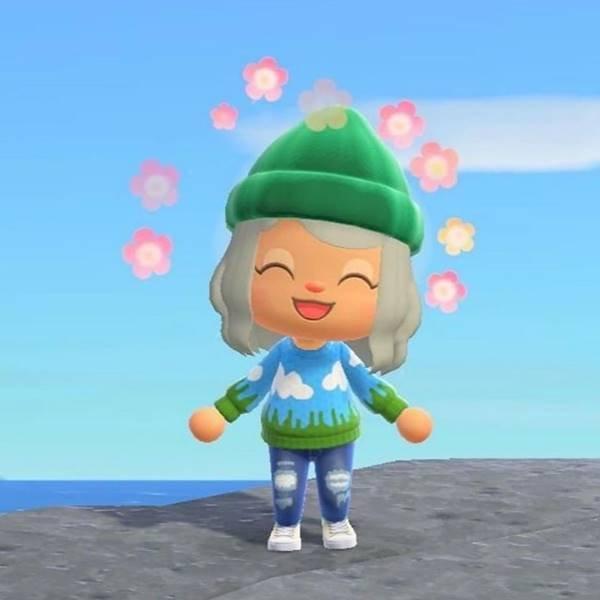 Cloud Sweater, da marca Lirika Matoshi, no jogo Animal Crossing