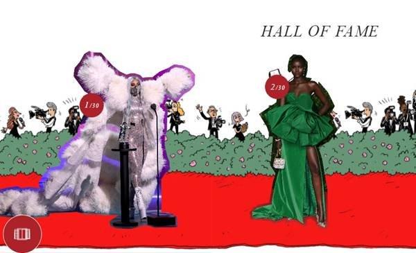 Lady Gaga e Adut Akech no hall da fama da Valentino
