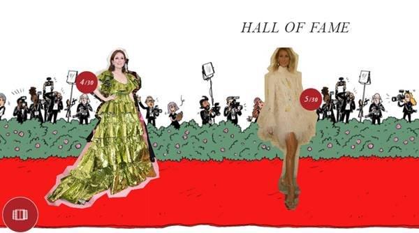 Julianne Moore e Céline Dion no hall da fama da Valentino