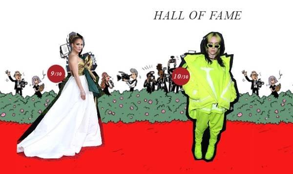 Jennifer Lopez e Billie Eilish no hall da fama da Valentino