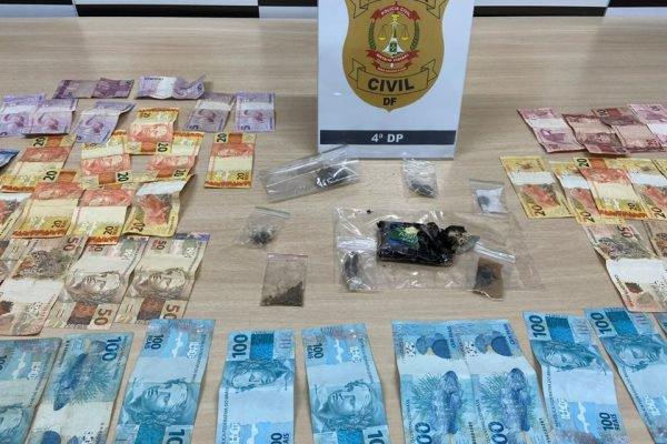 dinheiro e drogas apreendidos pela PCDF