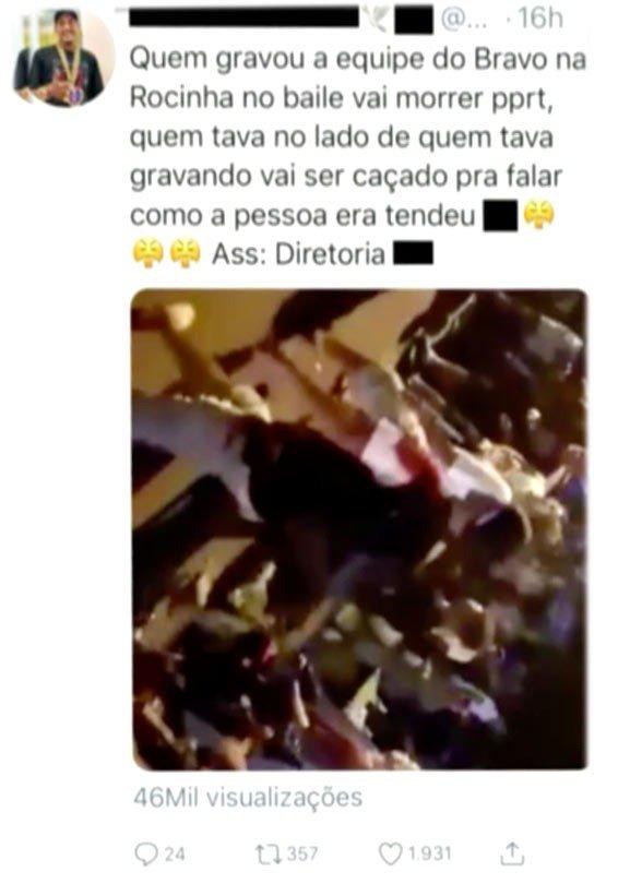Tráfico jura de morte quem repassou imagens do chefe da rocinha em baile