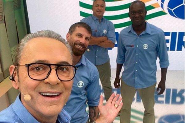 Equipe de esportes da Globo com Luis Roberto e PC Oliveira