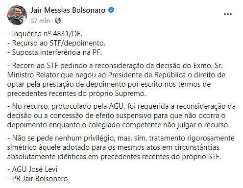 Bolsonaro explica por que recorreu ao STF