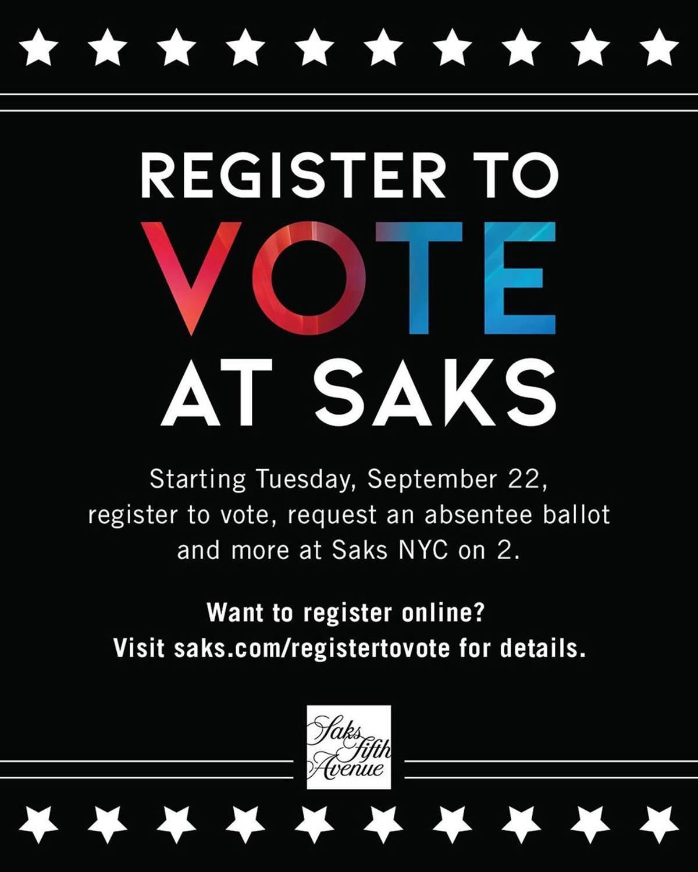 Imagem da Saks Fifth Avenue chamando para registro do voto