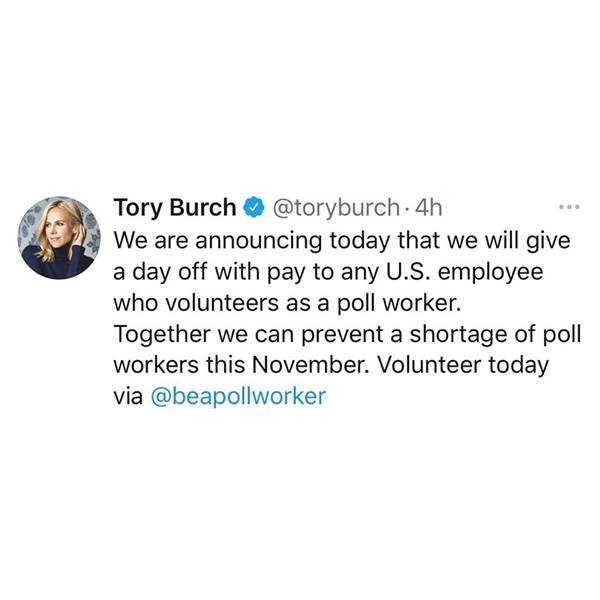 Tuíte da estilista Tory Burch