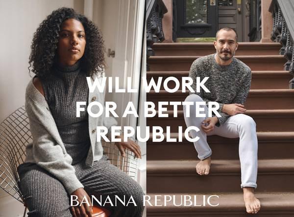 Imagem da Banana Republic com a frase: Vamos trabalhar por uma república melhor