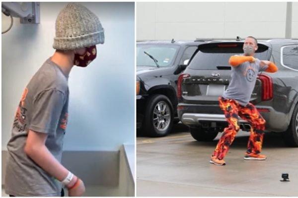 Filho assiste pai dançar da janela do hospital