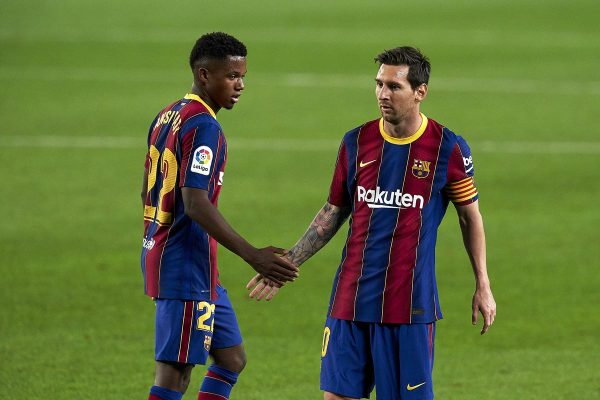 Ansu Fati e Messi Barcelona