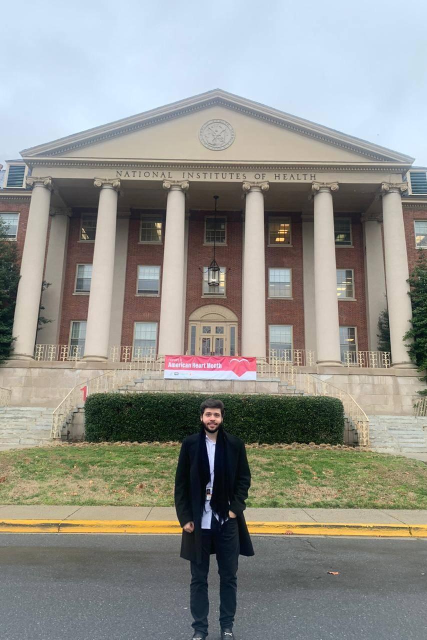 Mateus Pascoal durante estágio no Instituto Nacional de Saúde (Bethesda, 2020)