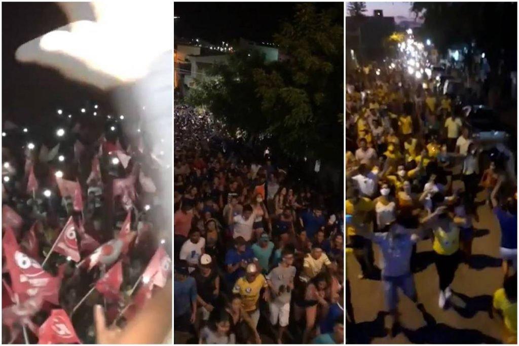Eventos continuam proibidos enquanto comícios reúnem milhares de pessoas