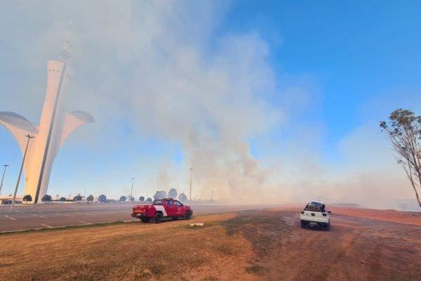 Mata perto da Torre digital pega fogo