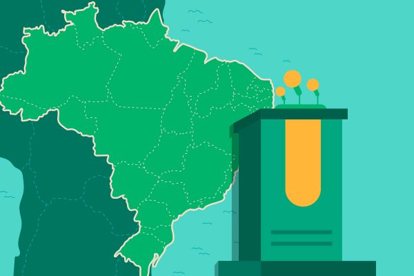 ilustração de um púlpito na frente do mapa do Brasil