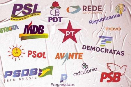 Ilustração com o logo de diversos partidos