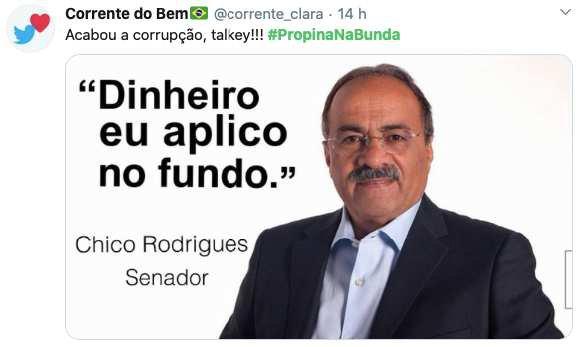 PropinaNaBunda: memes das nádegas de Chico Rodrigues viralizam