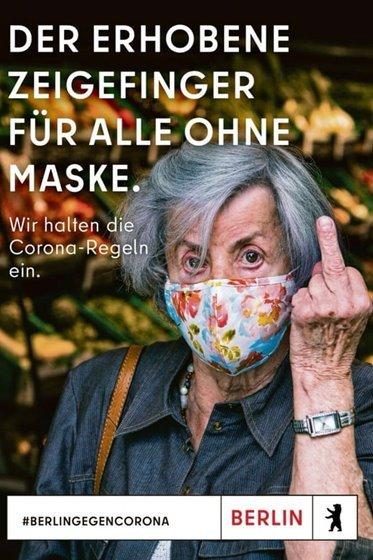 Idosa em campanha para uso de máscara - o2