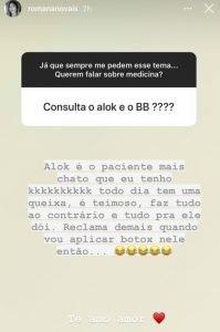 "Romana fala sobre Alok ""Paciente mais chato"""