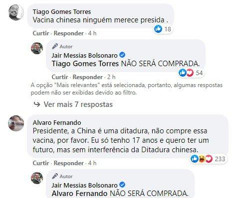 Bolsonaro diz que vacina chinesa não será comprada