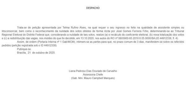 Telma Rufino pediu ao Tribunal Superior Eleitoral (TSE) anulação de votos de José Gomes