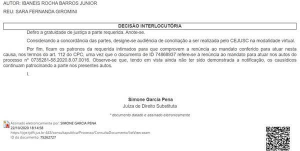 Decisão sobre audiência de conciliação entre Ibaneis e Sara Winter