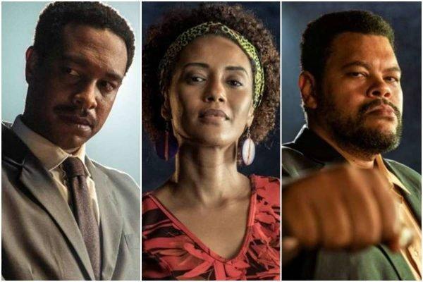 Guilherme Silva, Taís Araújo e Babu Santana em Falas Negras, da TV Globo