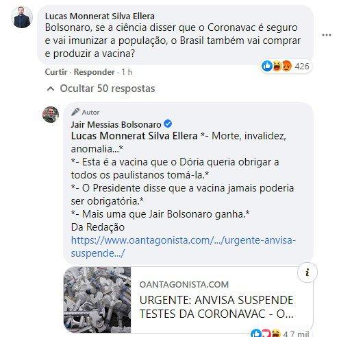 Bolsonaro diz que ganhou do Doria