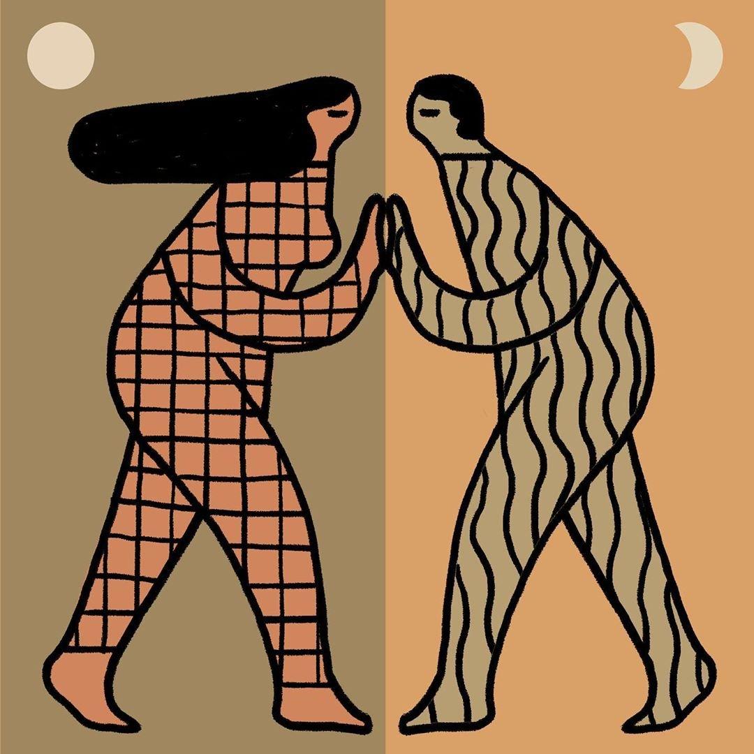 desenho de duas pessoas encostando as mãos