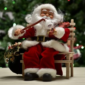 Papai Noel animado com violino 30cm