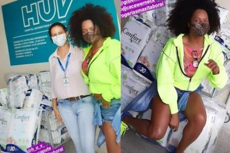 Adriana bombom faz doações a hospital