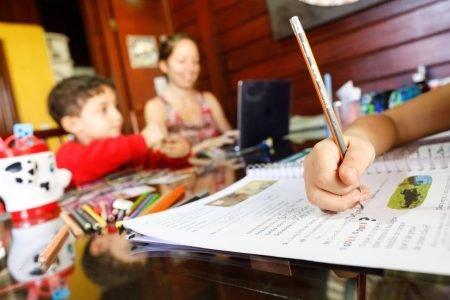 Alunos estudando em casa