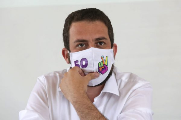 Guilherme Boulos (PSOL), candidato à prefeitura de São Paulo, durante coletiva de imprensa sobre as alianças partidárias 1