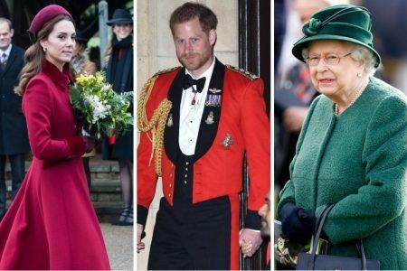 Kate Middleton, príncipe Harry e rainha Elizabeth