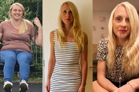 colagem de três fotos de mulher loira