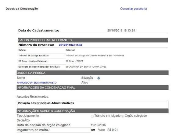 Condenação de Raimundo Ribeiro a pagamento de multa consta em site do Conselho Nacional de Justiça (CNJ)