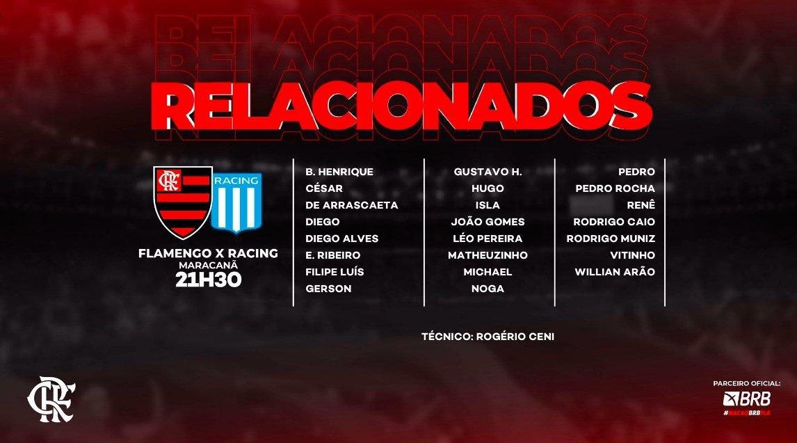 Relacionados do Flamengo para jogo contra o Racing