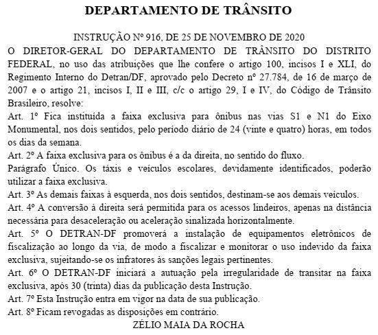 Instrução Faixas Exclusivas no Diário Oficial