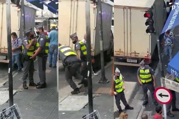 Policial militar aponta arma para rosto de colega no centro de São Paulo