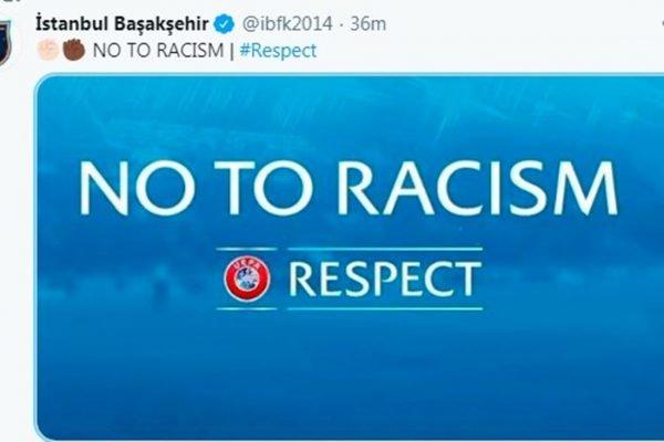 Istanbul Basaksehir protesta contra racismo na Champions League