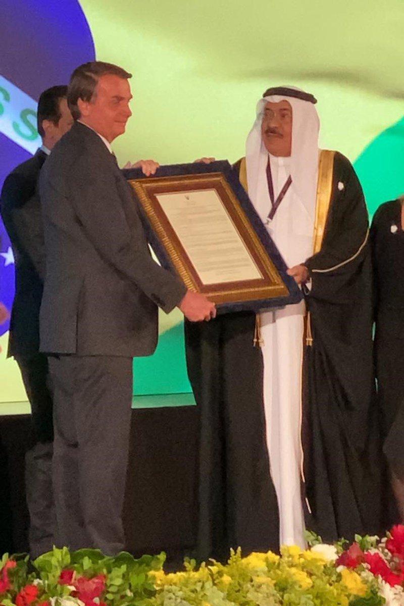 Bolsonaro e Sheikh Khalid Khalifa Duaji Alkhalifa