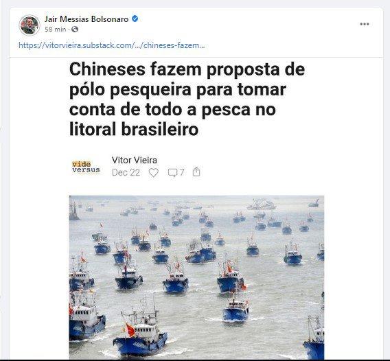 bolo 1 - Bolsonaro posta texto que acusa China de piratear mares e saquear recursos