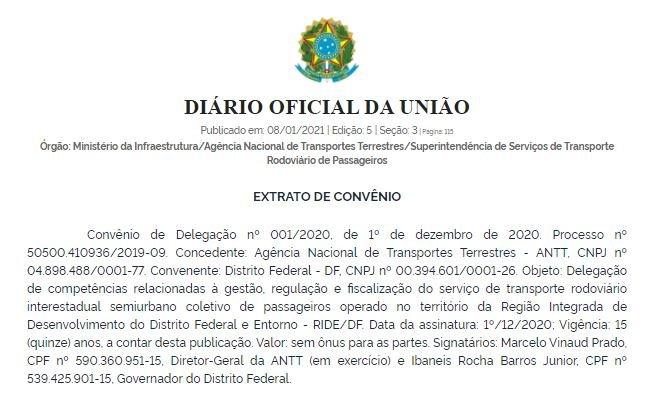 ANTT transfere transporte público semiurbano para o GDF